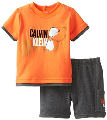 Calvin Klein Baby Boys' Tee with Charcoal Short Sunglasses, Orange, 12 Months