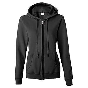 Gildan Women's Heavy Blend Full-Zip Hooded Sweatshirt, X-Large, Black