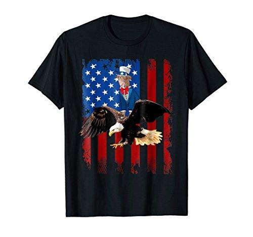 Pitbull Riding Eagle America Flag T-shirt Patriotic - Bulldog Pit Patriotic