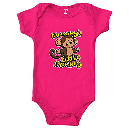 Tcombo Mommy's Little Monkey - Humor Funny Bodysuit (Pink, 24 Months)