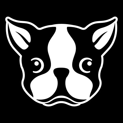Cute Boston Terrier Dog Vinyl Decal Sticker | Cars Trucks Vans SUVs Windows Walls Cups Laptops | White | 5.5 Inch | ()