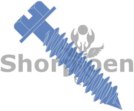 SHORPIOEN Slotted Hex Washer Concrete Screw with Drill Bit Blue Perma Seal 3//16 x 4 BC-1064CNSW Box of 100