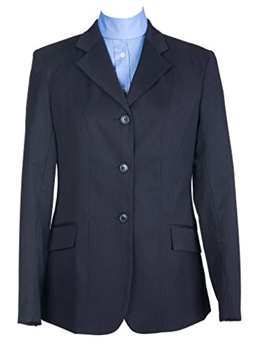 DEVON-AIRE Ladies Nouvelle Stretch Show Coat, Navy Pinstripe, 14