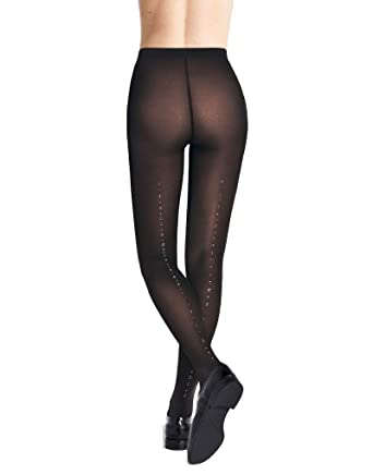 ddfd44371d1 Wolford Crystal Blaze Back Seam Tights Small-Black Gold at Amazon Women s  Clothing store