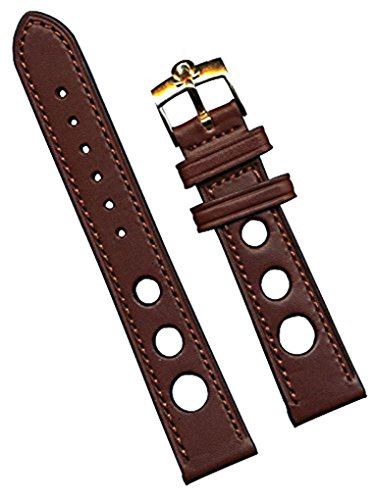 Omega Gold Filled Buckle and Brown Rally Racing Genuine Leather Strap Band, (Genuine Omega Buckle)
