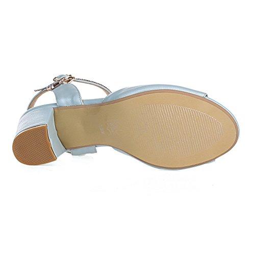 AmoonyFashion Womens Kitten-Heels Soft Material Solid Buckle Peep-Toe Sandals Blue nYmNar