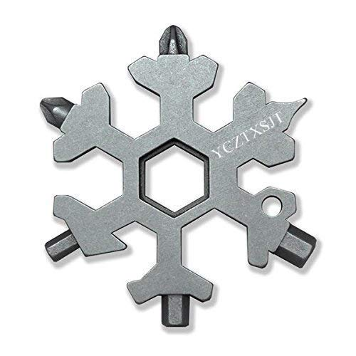 Snowflake Tools, Silver 18-in-1 Stainless Steel Snowflakes Multi-Tool,For Acts As A Bottle Opener, Flat Phillips Screwdriver Kit, Replacement Accessory Tool (Amenitee 15 In 1 Stainless Multi Tool)