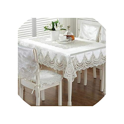 Europe Style Luxury Comfort Tablecloth Lace Edge Dustproof Covers for Table Chair Cover Home Party Table Cloths,Light Rice,90X150Cm - Fiber Nest Ring