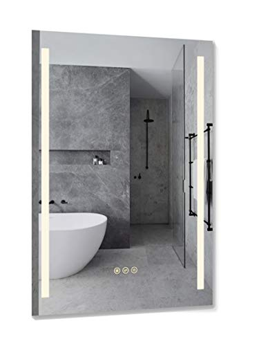 B&C 24x36 inch Super Slim Bathroom Mirror Vertical| 2 Led Strips | -