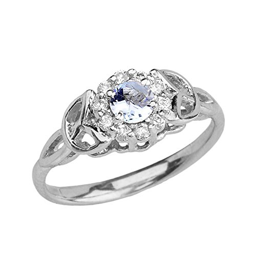 - Precious 10k White Gold Diamond and Aquamarine Engagement/Proposal Ring (Size 10.5)