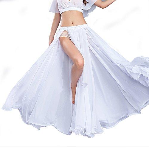 ROYAL SMEELA White Chiffon Fairy Belly Dance Skirt Women Tribal Belly Dancing Skirts High Split, One Size, 11 ()
