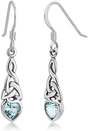925 Sterling Silver Celtic Knot Gemstone Heart Drop Dangle Hook Earrings 1.29 inches