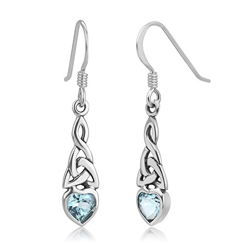 925 Sterling Silver Celtic Knot Blue Topaz Gemstone Heart Drop Dangle Hook Earrings 1.29 inches