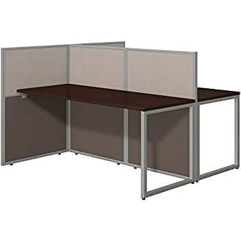 Easy Office 2 Person Desk with Cubicle Panels in Mocha Cherry