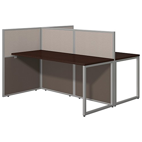 Easy Office 2 Person Desk with Cubicle Panels in Mocha Cherry by Bush Business Furniture