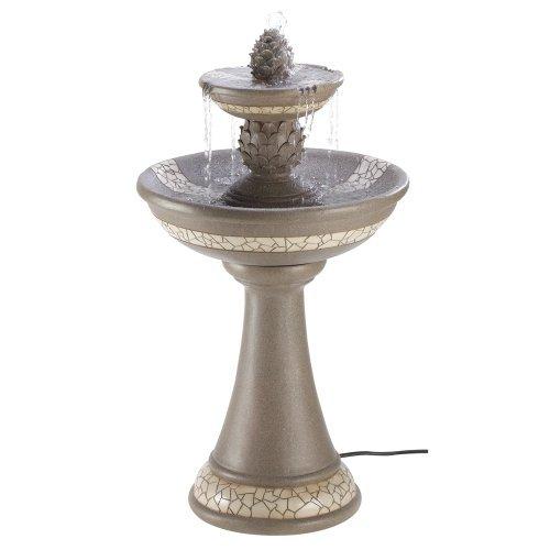 Large Mosiac Courtyard Yard Bird Bath Outdoor Garden Patio Water Fountain & Pump