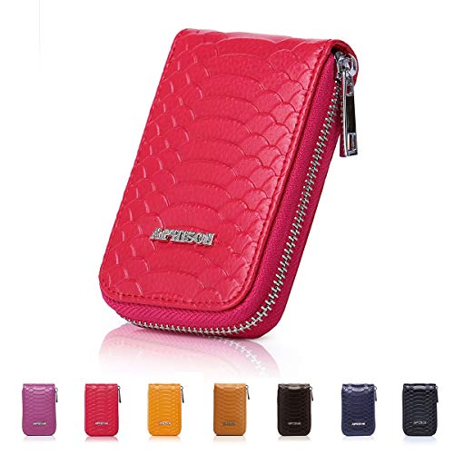 APHISON RFID Blocking Leather Credit Card Holder Case Ladies minimalist pocket wallet Organizer Compact Wallet for -