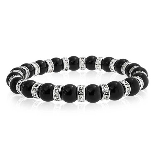 Bling Jewelry Black Onyx Ball Bead Stackable Strand Stretch Bracelet for Women White Crystal Rondelle Spacer Silver Plated Brass