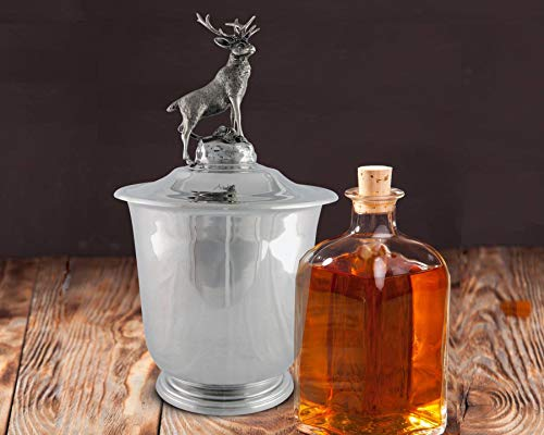Hand Spun Pewter Ice/Wine/Champagne Bucket with Noble Elk Head - Pewter Bucket Wine
