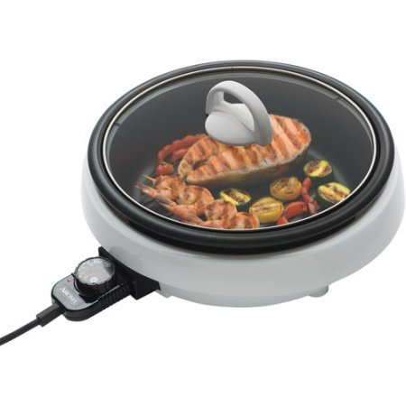Aroma Super Pot (Super Cast Aluminum Pot Indoor Grill, Tempered Glass Lid, Non-stick, 3 Quart Capacity, White Finish)