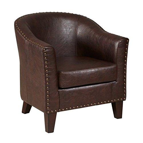 Pulaski Faux Leather Barrel Accent Chair, 37