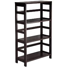Winsome Wood 3-Shelf Wide Shelving Unit, Espresso