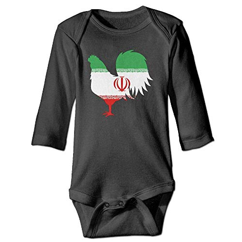 DMFS Infant Baby Girls Long Sleeve Baby Clothes Iran Flag Chicken Print Jumpsuit Onesie Black]()