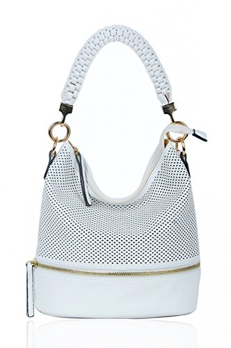 Leather Women's Cream For Handbags Bags Style CW150906 Shoulder Faux Fashion White LeahWard® Bag Tote Ladies 6XqdTwT