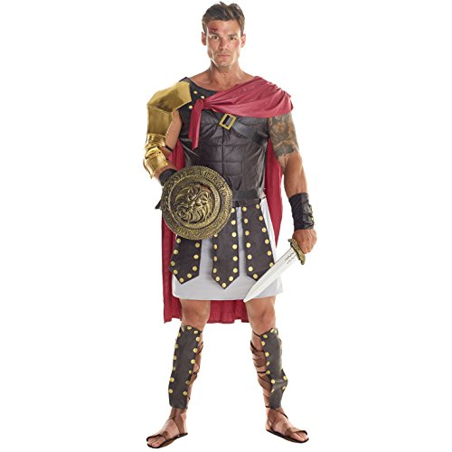 Centurion Costume (Mens Brown Roman Gladiator Soldier Costume - 7 Piece Costume)