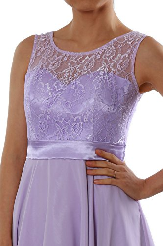 MACloth Formal Chiffon Bridesmaid Short Lace Weiß Women Party Dress Cocktail Gown 7qrH87wa