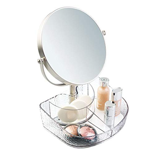 mDesign Dual Magnification Rotating Makeup Mirror with Divided Storage Tray for Bathroom - Bathroom Tilt Custom Size Mirrors