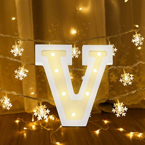 ❤ Lemoning❤ LED Letter Lights Light Up White Plastic Letters Standing Hanging N~& ()