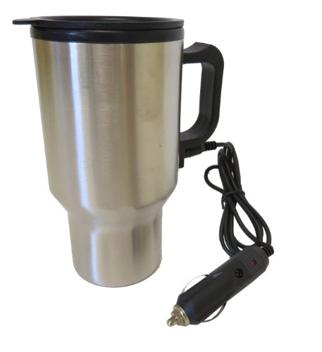 Hot Headz Heated Stainless Steel Auto Travel Mug Holder, Silver, One Size