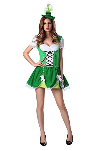 Dlsave Sexy Women Halloween Costume Oktoberfest Beer Girl Outfit (Large) (Beer Maid Costumes)