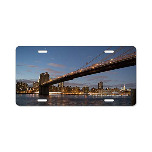 SUJQNGC Car License Plates Shields and Frames Combo,Sky Sunset Bridge Design Novelty Plate Covers to Fit Any Standard US Plates, Unbreakable Frame & Covers to Protect Plates, Screws Included