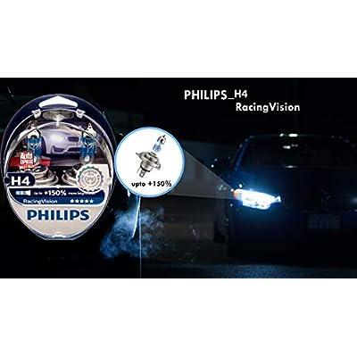 RacingVision H4 Headlight Bulbs (Twin) 12342RVS2 Halogen Bulbs Upgrade by Philips: Automotive