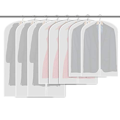 Garment Bag Lightweight Full Zipper Breathable  Suit Bag (Set of 8) Moth Proof Garment Protection  for Closet Storage and Home and Travel ()
