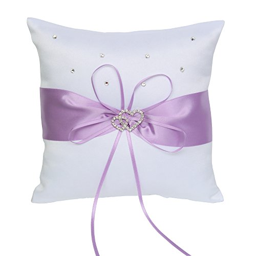 ARKSU Ring Bearer Pillow Cushion 7.8 x7.8 inch with Satin Ribbon 2 Heart Rhinestones for Rustic Bridal Wedding Shower Ceremony-Lavender
