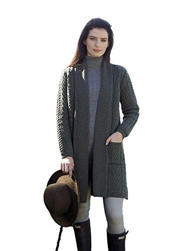 Ladies Merino Wool Edge to Edge Long Knit Shawl (Thundra, - Cardigan Long Knit Merino