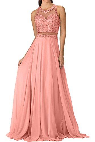 Taille Braut mia A Abendkleider Elegant Chiffon La Pfirsisch Festlichkleider Linie Partykleider Steine Durchsichtig Ballkleider Perlen Rock zRCq55axw