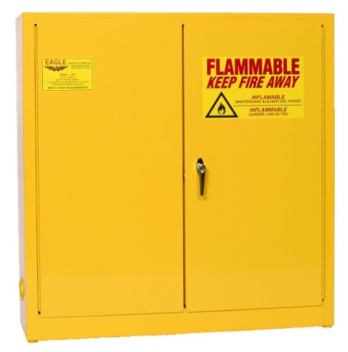 Eagle 1976 Safety Cabinet for Flammable Liquids, 2 Door Manual Close, 24 gallon, 44''Height, 43''Width, 12''Depth, Steel, Yellow by Eagle