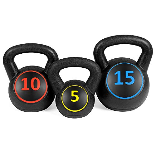 Best Choice Products 3-Piece HDPE Kettlebell Exercise Fitness Weight Set for Full Body Workout w/ 5lb, 10lb, 15lb Weights, Wide Grips, Base Rack - Black by Best Choice Products (Image #2)