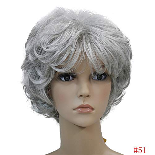 (Ladies Wigs Short Wavy Golden Blonde Hair Women Synthetic Capless Full Wig 16 Colors,51,10inches )