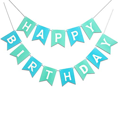 Mint Blue Happy Birthday Banner Signs Birthday Party Supplies for Birthday Party Decorations Baby Nursery Hangging Decor 13pcs -