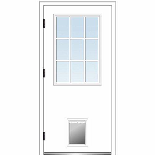 National Door Company ZZ364793R Steel, Primed, Right Hand Outswing, Prehung Front Door, 9 Lite with Pet Door, Clear Glass, 32