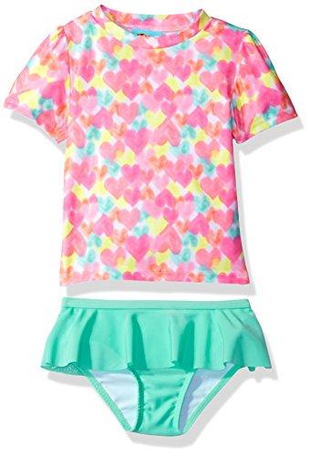 Baby Buns Toddler Girls' Heart Print Rashguard Swim Set, ...