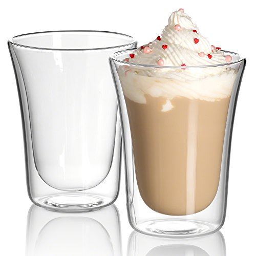 JECOBI 10 oz Clear Coffee Mug - Double Wall Insulated Glass Set of 2. Keeps Hot Or Cold Drinks Longer