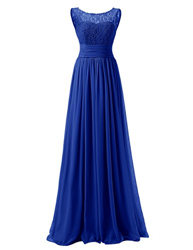 Emust Women's A-Line Scoop Ruffles Chiffon Long Bridesmaid Prom Dress with Lace Royal Blue Size 10