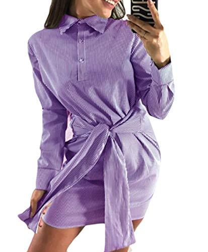 Cromoncent Femmes Coupe Classique Bouton Manches Rayé Mince Mini Robe Longue Descente Violet