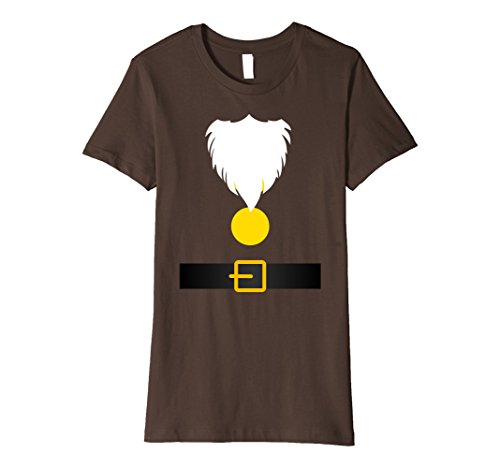Snow White Costume Shirt (Womens Funny Dwarf Costume T-Shirt for Halloween or Christmas Small Brown)